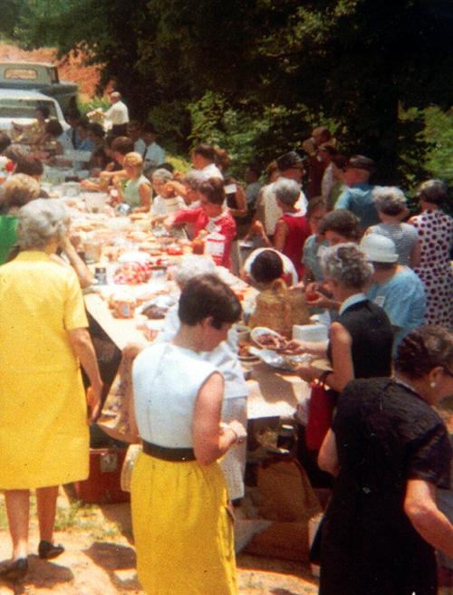 A church dinner on the grounds, Calhoun County c. 1965