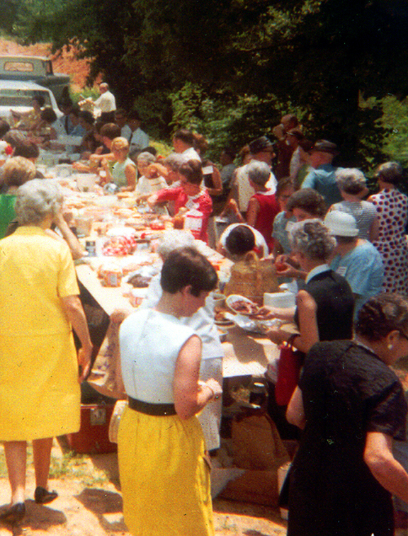A church dinner on the grounds, Calhoun County c. 1965